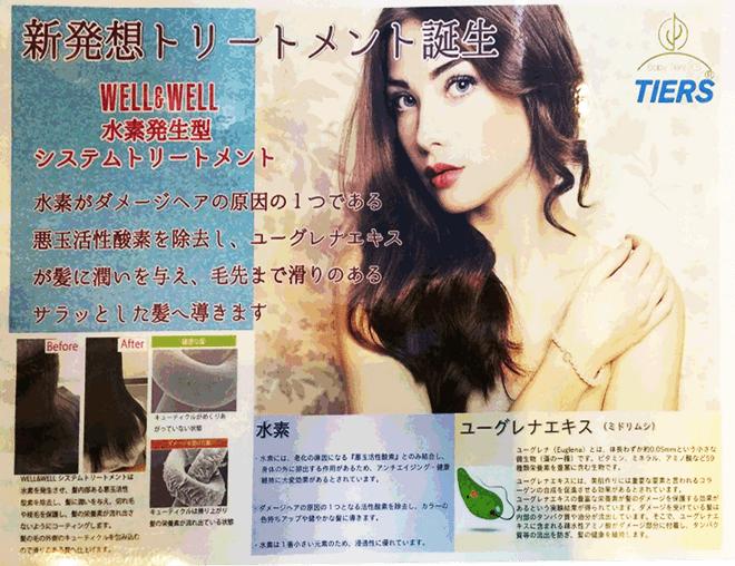 新発想トリートメント誕生 WELL&WELL 水素発生型 システムトリートメント<br /> 水素がダメージヘアの原因の一つである<br /> 悪玉活性酸素を除去し、ユーグレナエキスが<br /> 髪に潤いを与え、毛先まで滑りのある<br /> サラッとした髪へ導きます